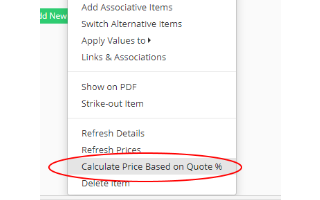 Add a Percentage Value of a Quote (for freight and other charges)