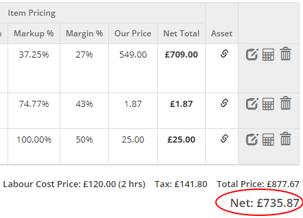 Net Total Moved to the Bottom of Sections