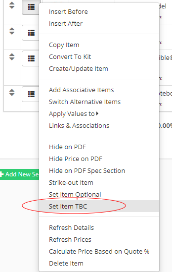 Set Items to 'TBC' or 'Optional' on Quotes